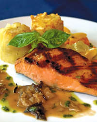 Grilled Salmon with Fresh Basil